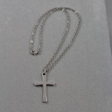 Cross Necklace in Stainless Steel on 18 inch Cable Chain