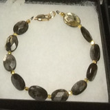 Man's Bracelet of Faceted Mica Stone with Gold Vermeil Accents