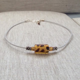 White Leather Choker with Leopard Glass Focal, Sterling Silver Accents