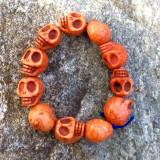 Skull Bracelet, Orange Dyed Howlite Stone on Stretch Cord