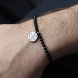Black Agate Bead Bracelet with Silver Om Charm