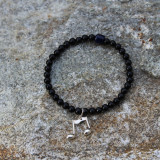Black Agate Bracelet with Silver Eighth Notes