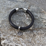 Black Leather Bracelet with Silver Gear Embellishment