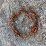Faux Barbed Wire Leather Wrap Bracelet