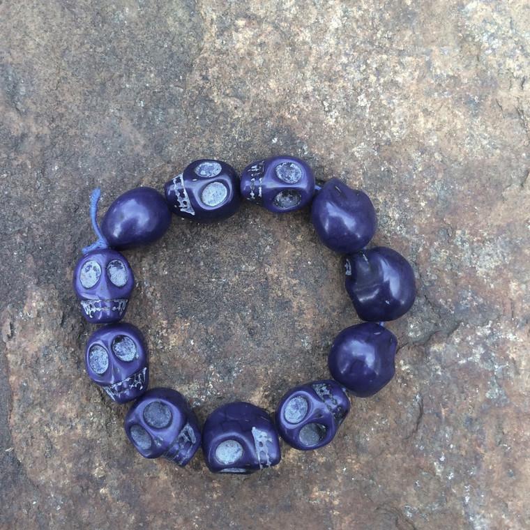 Skull Bracelet, Dark Blue Dyed Howlite Stone Large Beads on Stretch Cord