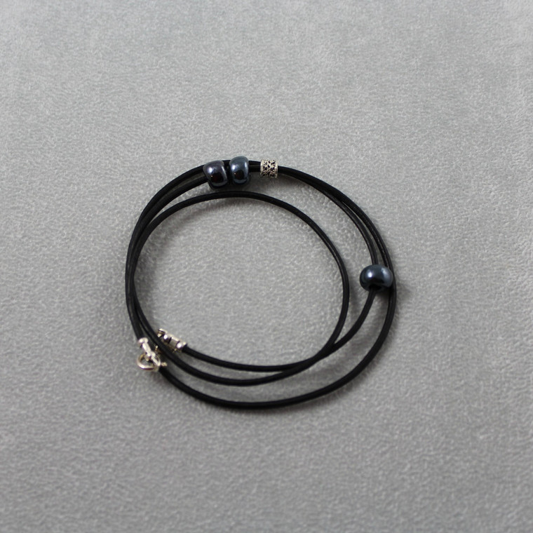Kinetic Wrap Bracelet, Black Leather & Beads