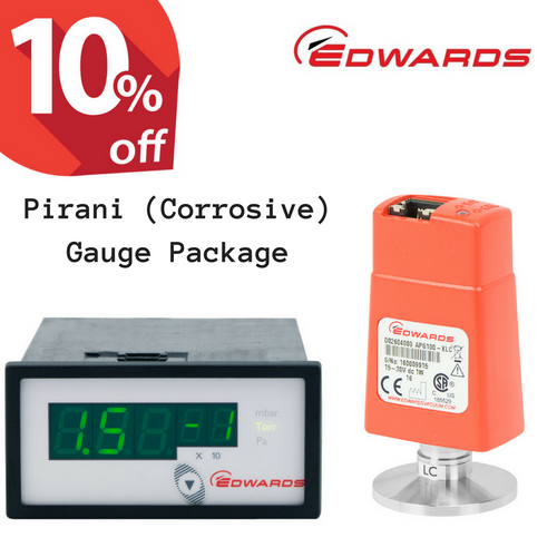 Edwards Pirani (Corrosive) Vacuum Gauge Package | APG100-XLC + ADC Controller + 3m cable, ATM to 10^-4 mbar (PIR-C-ADC)