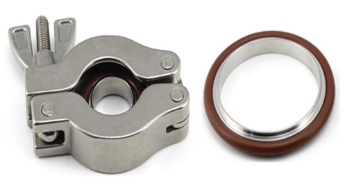 KF NW Stainless Steel Swing Clamps with SS/FKM Centering Ring Package