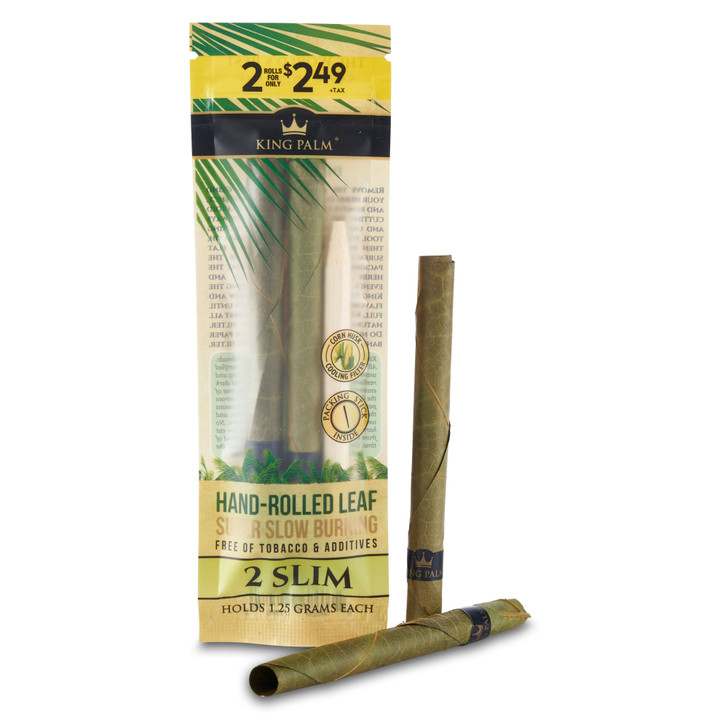 Slim 2 pack of king palm pre rolled blunt tubes