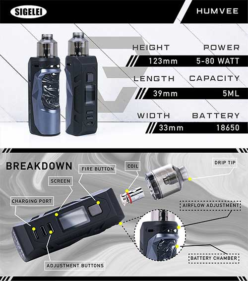 Segelei HUMVEE 80W Box MOD Starter Kit Infographic