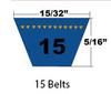 15215 Wrapped Automotive V-Belt, .44 x 22.07in OC (1/Pkg.)