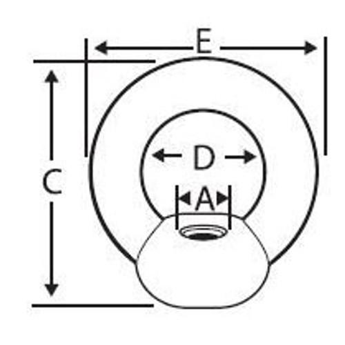 M8-1.25 DIN 582 Forged Eye Nuts, Plain (150/Pkg)