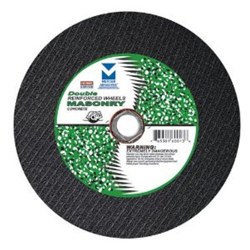 """12"""" x 1/8""""(5/32) x 1"""", 20mm Cut-Off Wheel with Dual Arbors for Portable Gas Saw - Double Reinforced - Masonry, Mercer Abrasives 605050 (10/Pkg.)"""