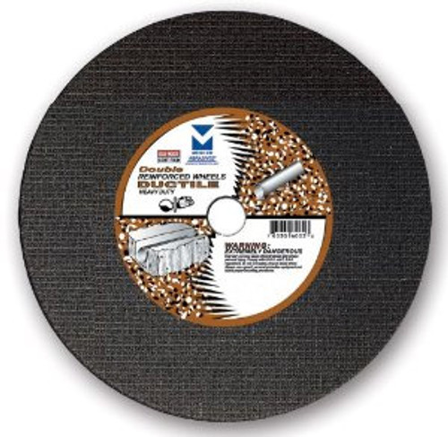 """12"""" x 1/8""""(5/32) x 1"""", 20 mm Cut-Off Wheel with Dual Arbors for Portable Gas Saw - Double Reinforced - Ductile,  Mercer Abrasives 606050 (10/Pkg)"""