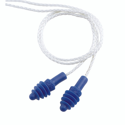 Howard Leight AirSoft Corded Earplugs, Nylon, White/Blue