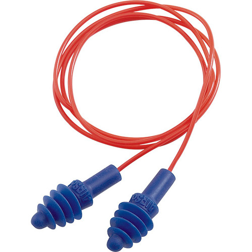 Howard Leight AirSoft Corded Earplugs, Polycord, Red/Blue