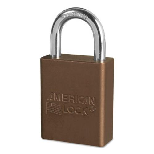 American Lock Solid Aluminum Padlocks, 1/4 in Diam., 1 in L X 3/4 in W, Brown, 6/BOX, #A1105BRN