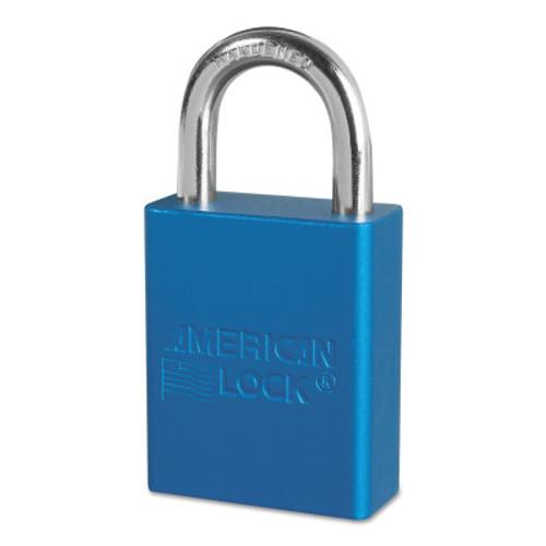 American Lock Solid Aluminum Padlocks, 1/4 in Diam., 1 in L X 3/4 in W, Blue, 1/EA, #A1105BLU