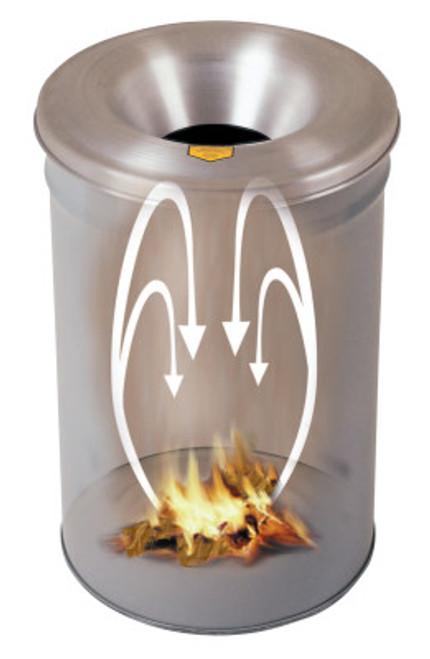 Justrite Cease-Fire Waste Receptacles, 30 gal, Head: Aluminum, Gray, 1/EA, #26630G