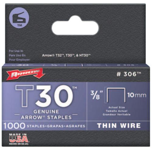 "Arrow Fastener 3/8"" STAPLES F/STAPLE GUN TACKERS 1000/PAK, 1/PAK, #306"
