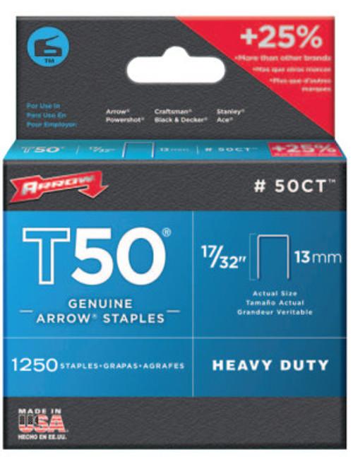 Arrow Fastener T50 Type Staples, 17/32 in L x 3/8 in W, 24/PK, #50CT