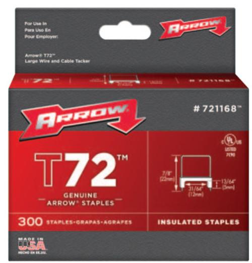 Arrow Fastener T72 Type Staples, 13/64 in L x 13/64 in W, 300 per box, 1/EA, #721168