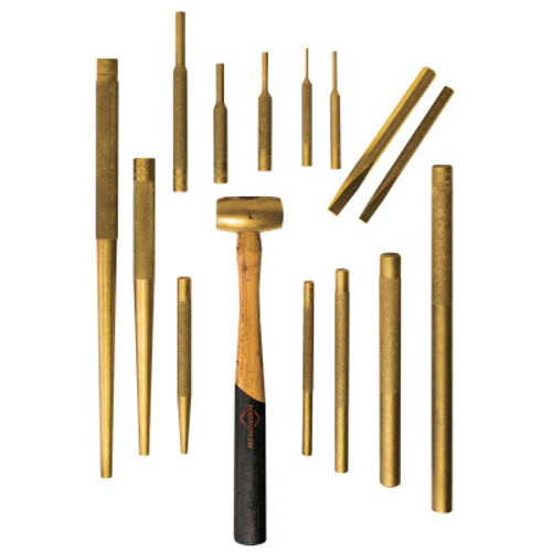 Mayhew™ 15 Piece Brass Assortment Kit, English, includes Brass Hammer, 1/ST, #61369
