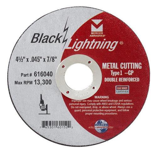 """6"""" x .045 x 7/8"""" Black Lightning Cut-Off Wheel - Type 1 - Double Reinforced, Mercer Abrasives 616060 (25/Pkg.)"""