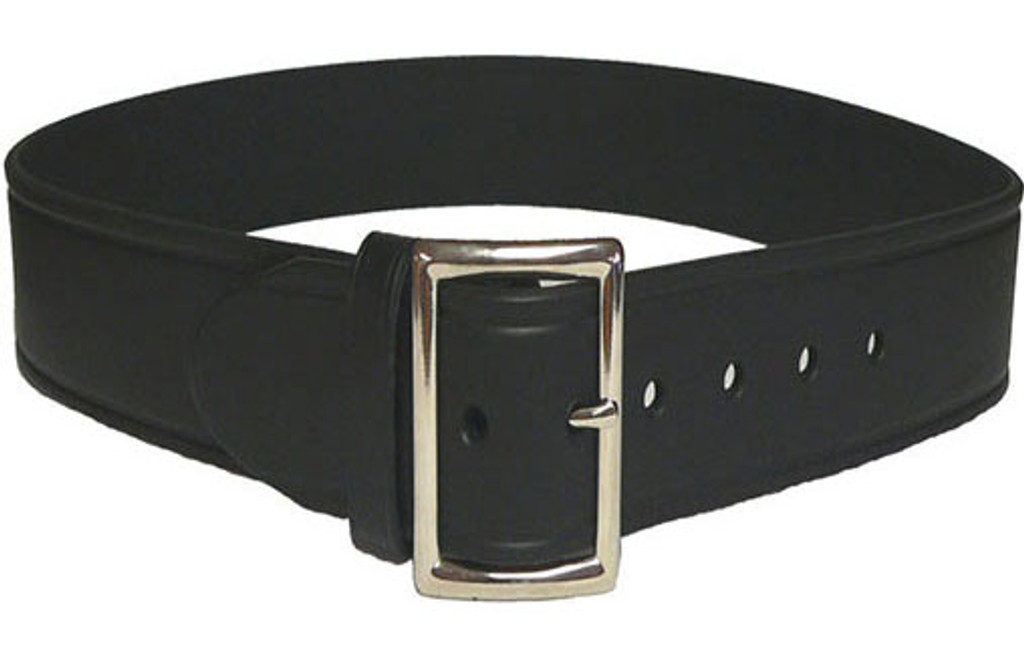 "Perfect Fit Leather 1 3/4"" Trouser Belt (PLAIN BLACK - Chrome Buckle)"