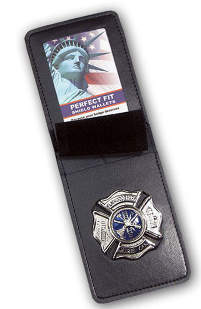 Perfect Fit Leather Top Open Vertical Badge Case w/ID Holder (Custom Cutout)