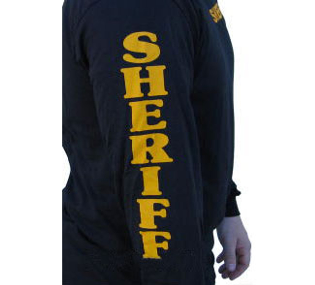 Sheriff Long Sleeve Shirt with Sleeve Prints (Black)