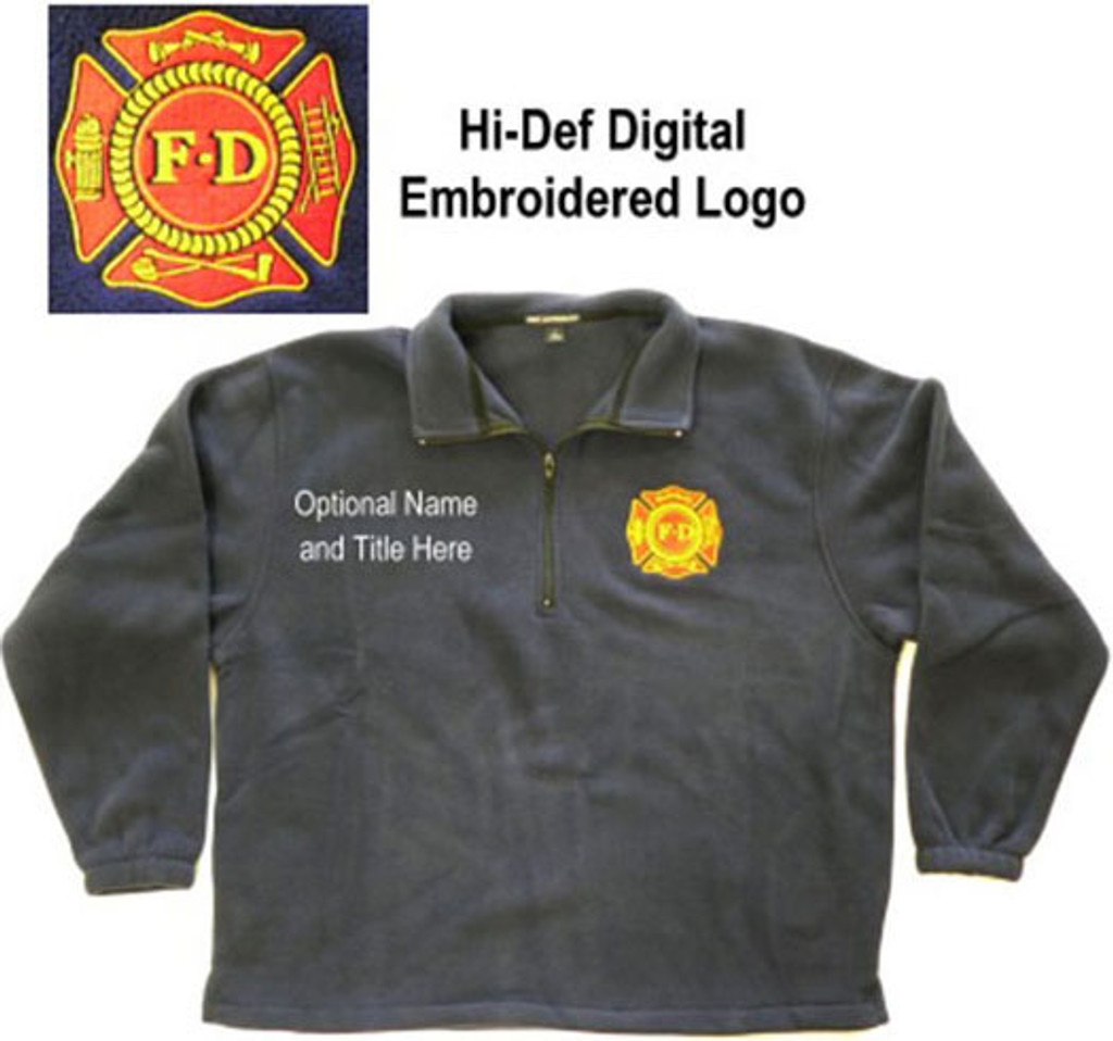 Port Authority 1/4 Zip Polar Fleece with F.D. Embroidered Logo (navy blue)