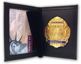 Perfect Fit Dress Leather Universal Badge Case w/ID Holder (Fits Shield/Oval)