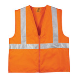 CornerStone ANSI 107 Class 2 Orange Reflective Safety Vest (Zip Front) - Front View