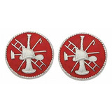 Red Enameled Firefighter Scramble Collar Insignia Set -  15/16-inch, Silver