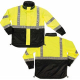 GloWear Reversible Work Jacket - Class 2 (Black,Lime)