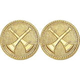 Double Crossed Bugle Collar Insignia Set -  15/16-inch, Gold