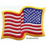 American Flag Shoulder Patch (Reversed Wavy - Gold Border)
