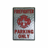 Firefighter Parking Only Sign (Metal Embossed) 12x18-inch