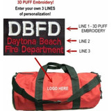 Custom Fire Department Large Duffel Bag (Red) - 3D PUFF EMBROIDERY