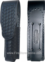 Leather Flashlight Holder (Basketweave 305) w/Hidden Snap