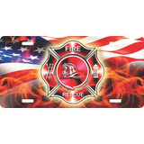 LICENSE PLATE - Fire Department 3D Flames