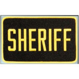 "Emblem - Full Back SHERIFF - 5"" X 9"" (Gold on Brown)"