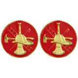 Red Enameled Firefighter Scramble Collar Insignia Set -  (15,16-inch) (GOLD)