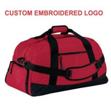 Large Duffel Bag with Custom Embroidered Logo (Red)