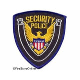 Patch - Security Police Shield (Black with Royal Border)