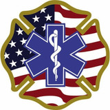 Decal - Star of Life U.S.A. Maltese (Helmet Size)