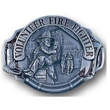 Belt Buckle - Volunteer FireFighter (solid pewter)
