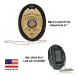Boston Leather Oval Badge Holder - Clip-On Hook and Loop Closure with Neck Chain