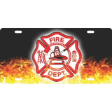 LICENSE PLATE - Fire Department Maltese Flames